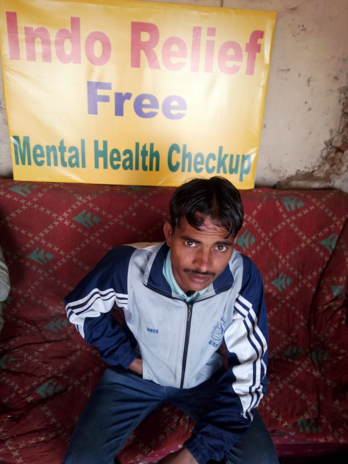 This is Reyansh. He is 36 years old. His body hurts a lot, and he was referred to our mental health camp.