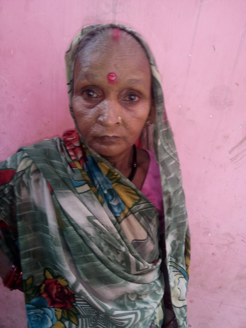 This is Nimita. She is 61 years old. She tells us she has trouble recalling memories. We believe she has dementia and will follow up with her.