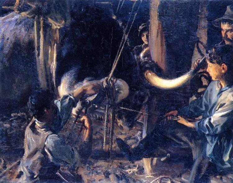 John Singer Sargent.  Shoeing The Ox , 1910. Oil on board. From the collection of the Aberdeen Art Gallery, Aberdeen, Scotland.