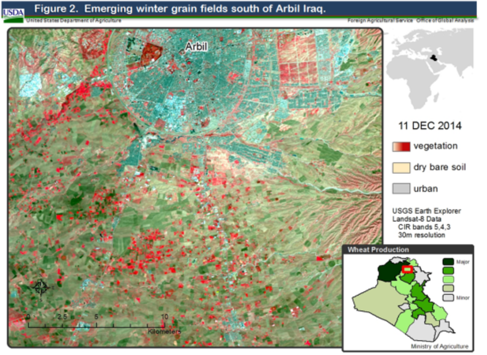 Satellite imagery from December 2014 indicated fields of winter grain starting to emerge near Arbil in northern Iraq