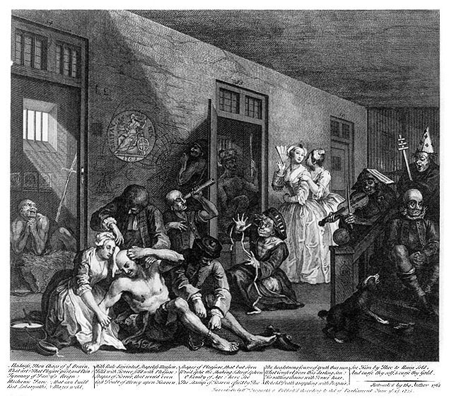 In The Madhouse  — Plate 8. From  A Rake's Progress , William Hogarth, 1734.