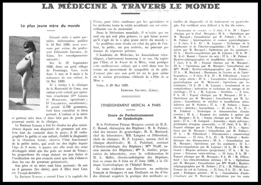 Report from  La Presse Medicale , May 31, 1939. The complete original is  here .