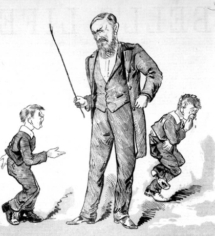 Cartoon from 1888 depicting J.S.Kerr, an Australian proponent of corporal punishment.