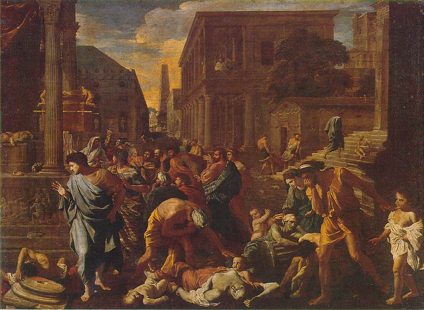 The Plague of Ashdod  1630 by Nicolas Poussin (1594–1665). Louvre, Paris. The picture was on the front cover of the January 2018 edition of the journal   Emerging Infectious Diseases   .
