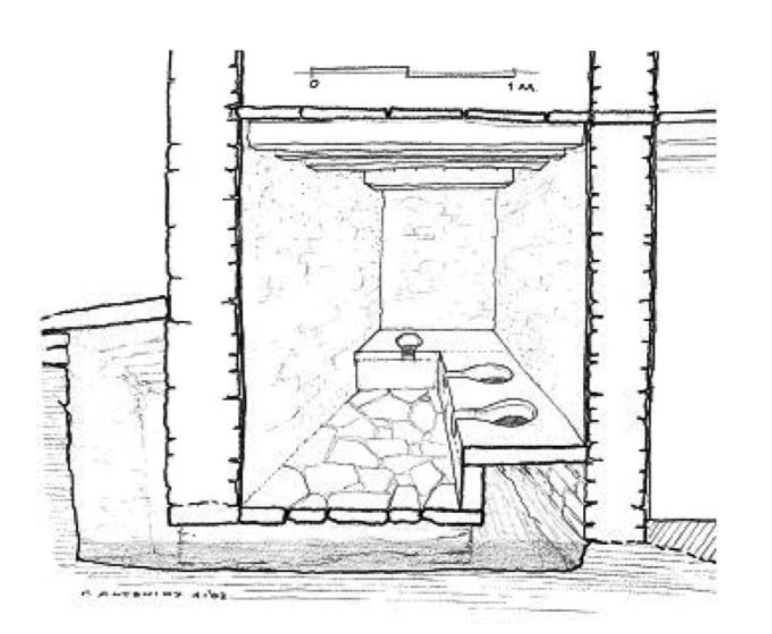 Restored view of Ithidiki's lavatory on Amorgos, built in the mid-4th century BCE. From G.P. Antoniou,   Lavatories in Ancient Greece.   Water Science and Technology, Water Supply 7:1; 156-164.