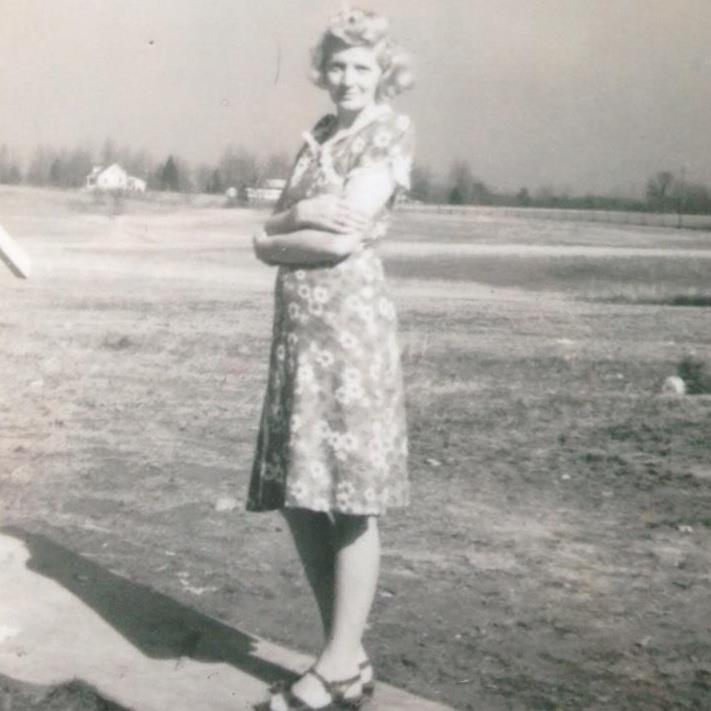 a very young Jennie Rose standing on the Snawder family grounds on Beulah Church Road, Fern Creek, KY