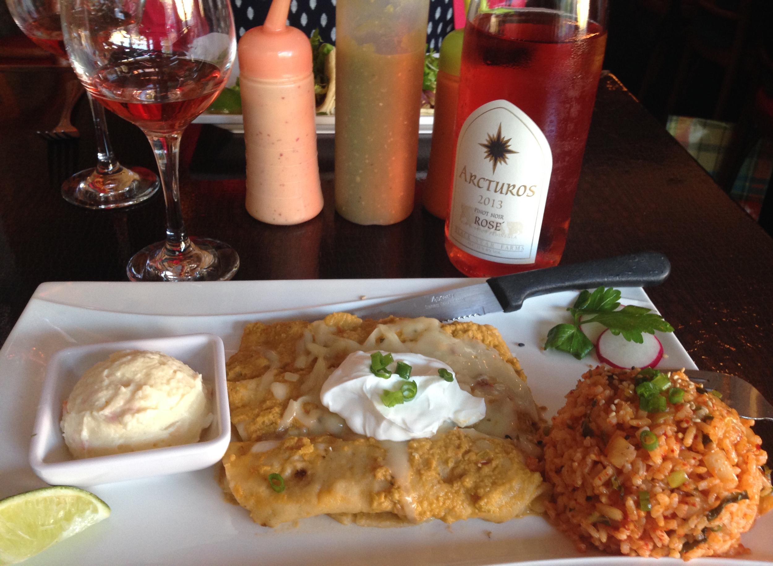 Our Arcturos Rosé back in Chicago, saddled up to some Korean enchiladas!