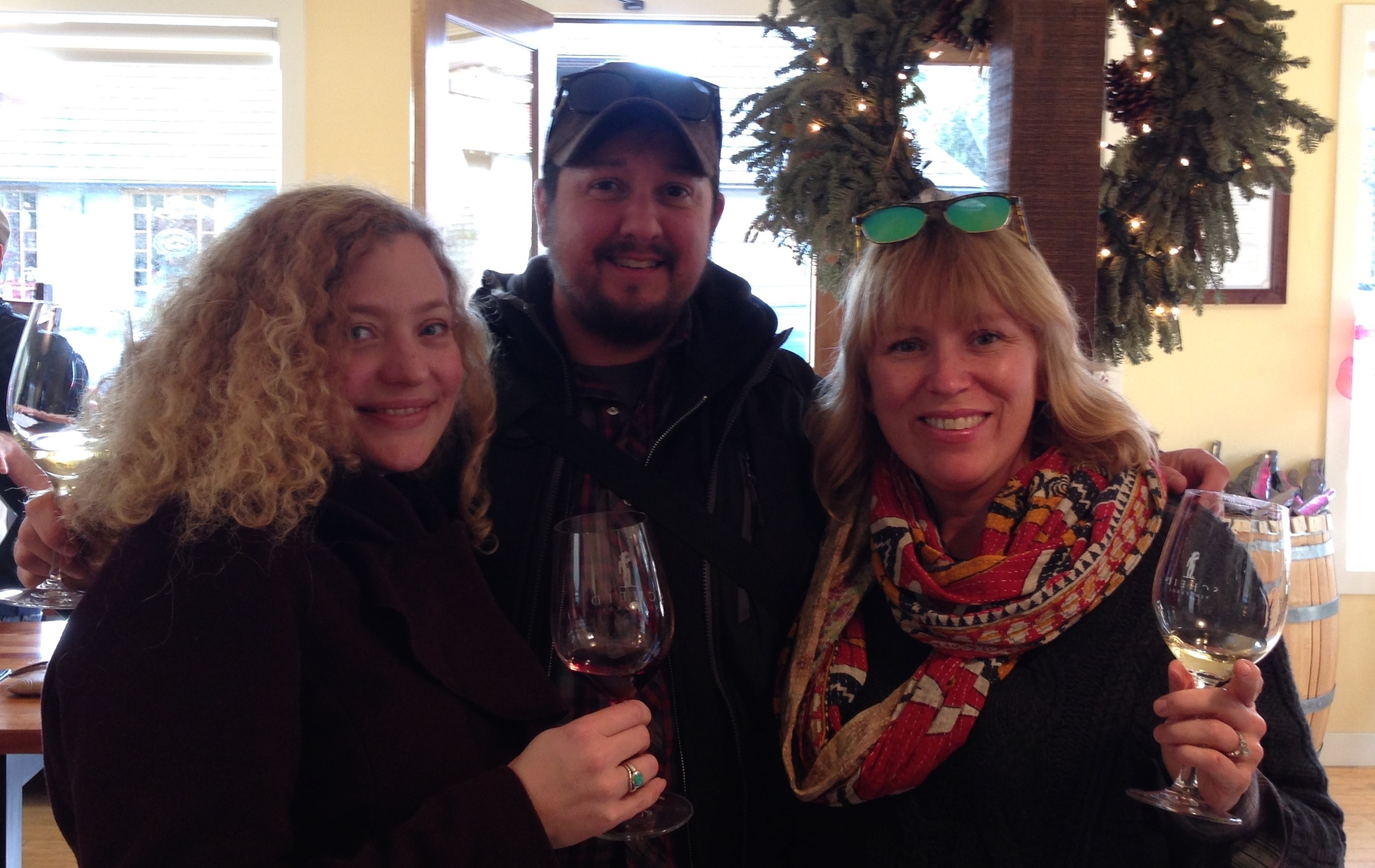 Myself, Gabe and Jen feeling festive at Scheid's Carmel-by-the-Sea Tasting Room.