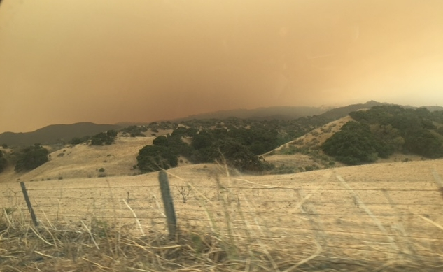 View from River Road of smoke rising from The Soberanes Fire
