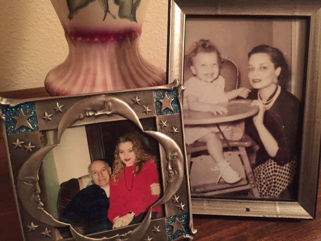 Top right: my mother in the highchair and her mother in pearls. Bottom left: Papaw and me, emulating Memaw with my red lipstick.