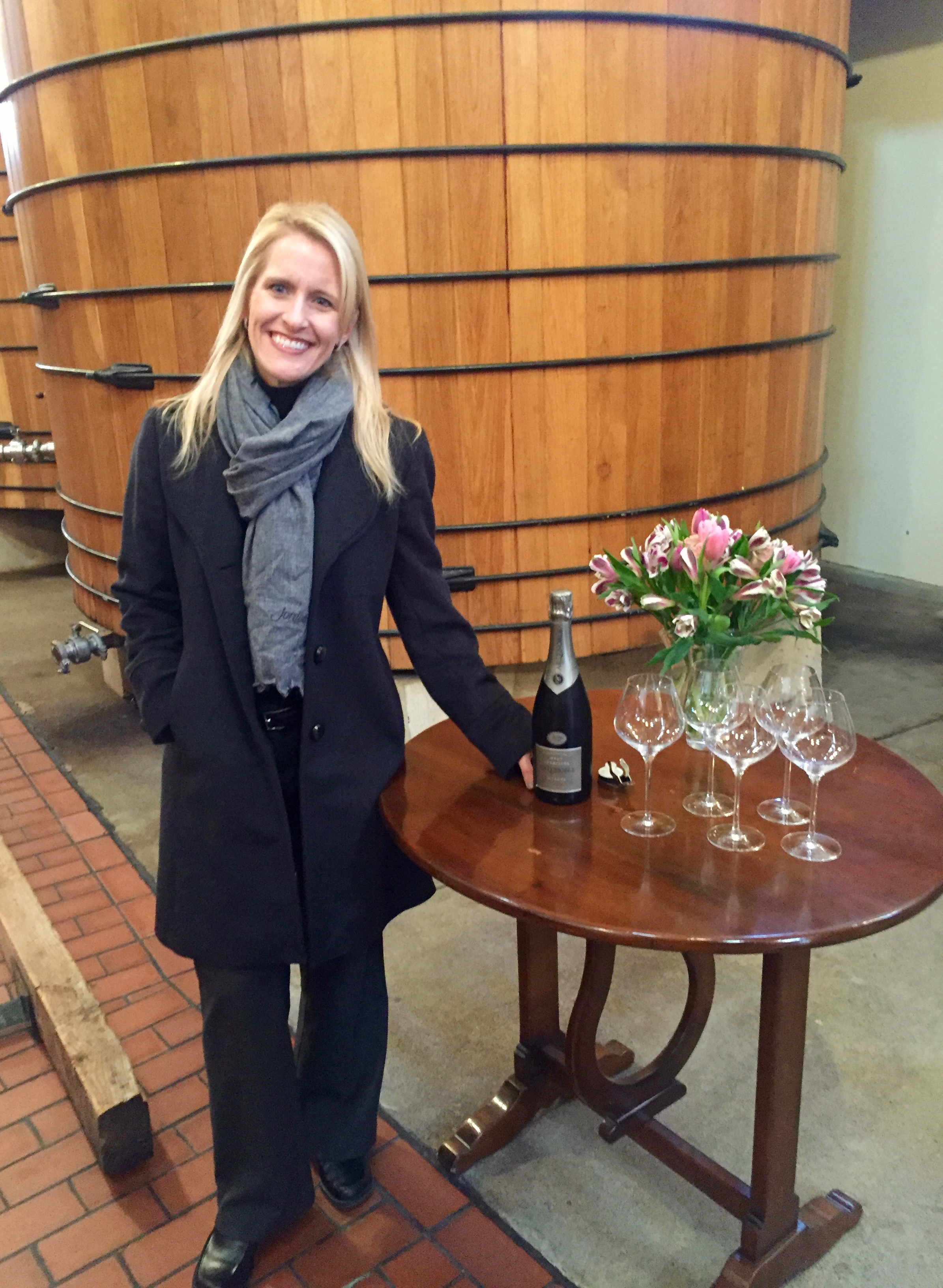 Lisa Mattson, Director of Marketing and Communications, ready to share the Jordan Cuvée.
