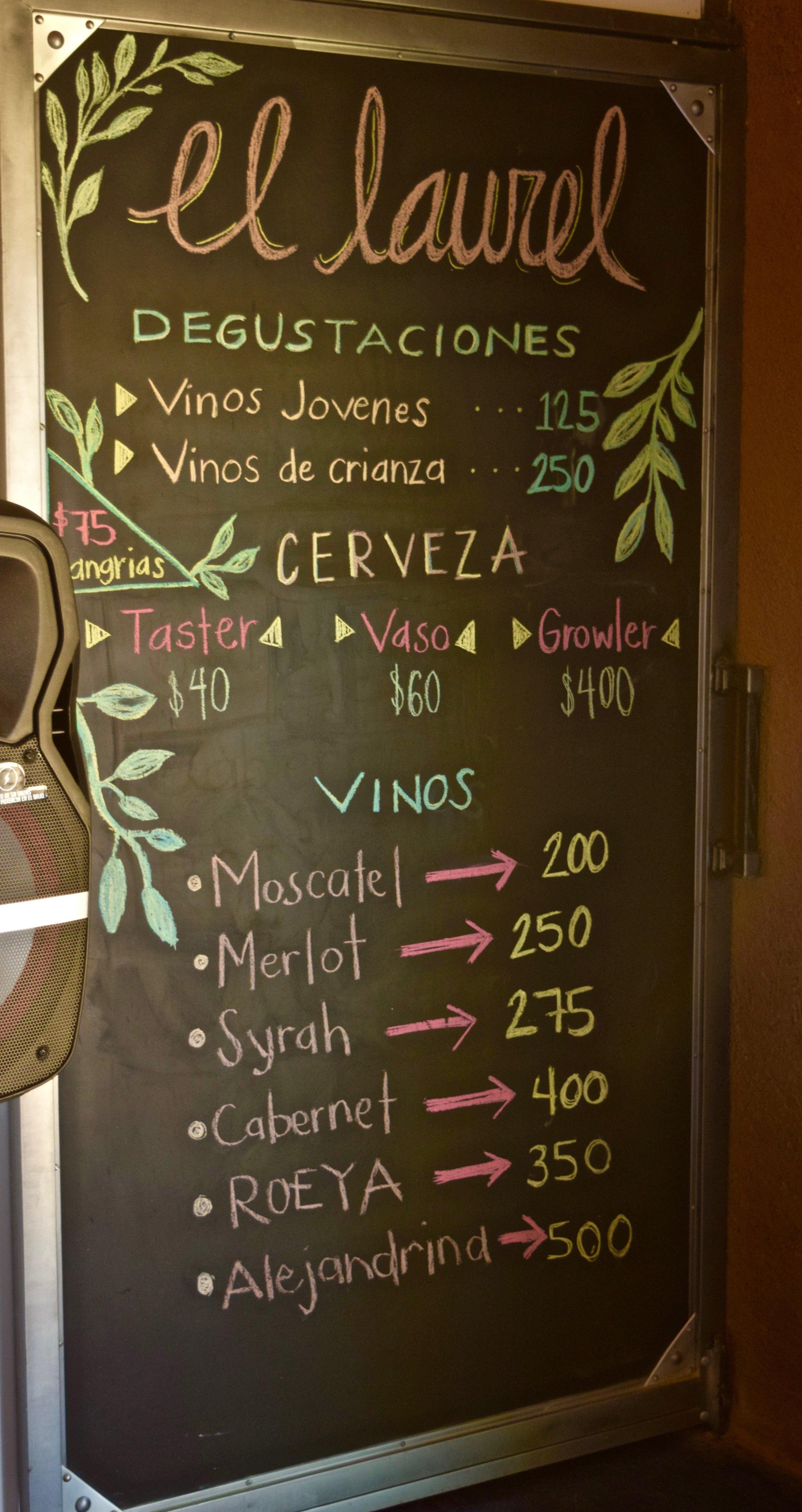 el laurel- sign with prices.jpg