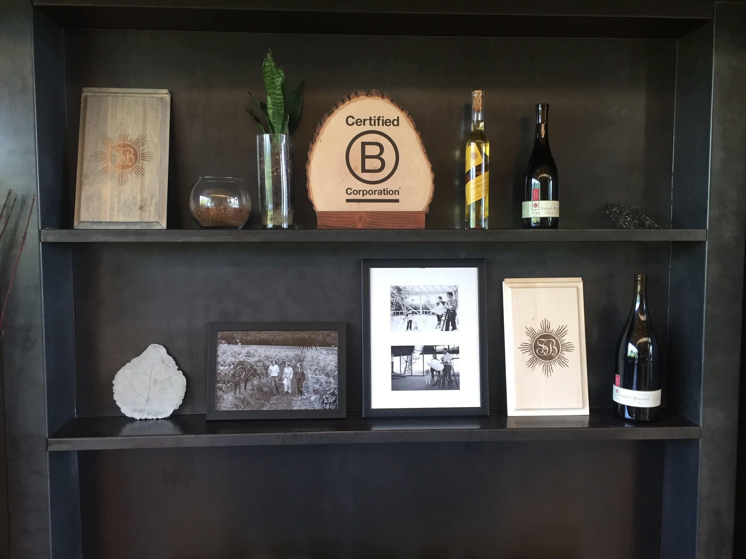The tasting room at Sokol Blosser, proudly displaying their B Corps credentials.