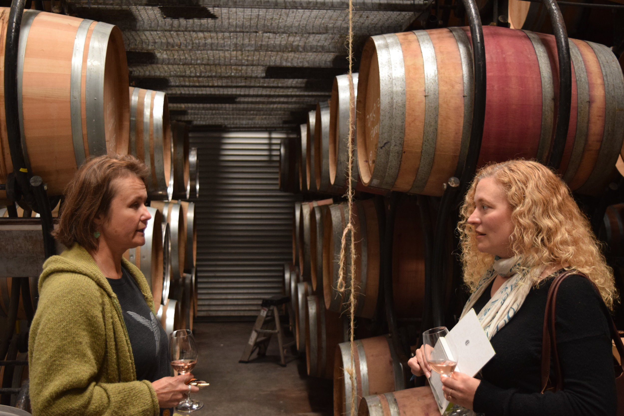 Wine talk with Annette Hoff in the Barrel Room at Cima Collina. Photo by Gabriel Manzo.