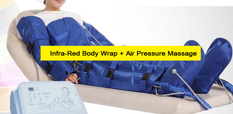Infrared air pressure massage has all the benefits of the infrared blanket    plus massages all your limbs & body by air press & release function.      Improves blood & lymphatic circulation and helps to better define a body contouring.        CLICK IMAGE FOR MORE DETAILS