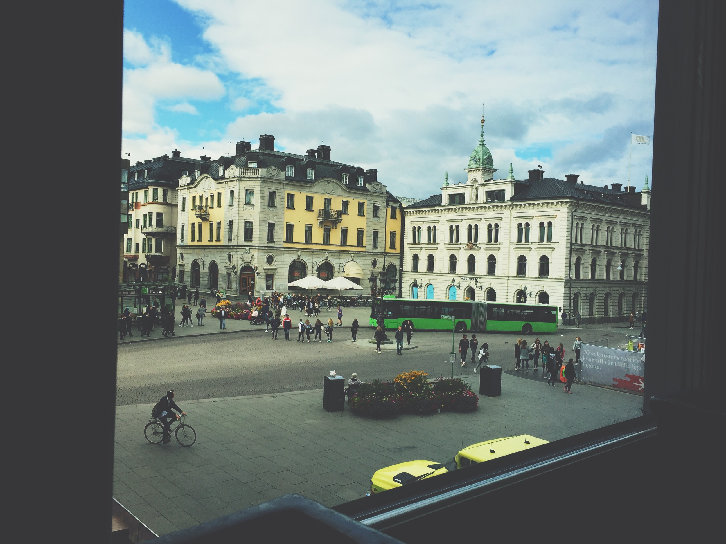 The view of the city center out of Cafe Storken.