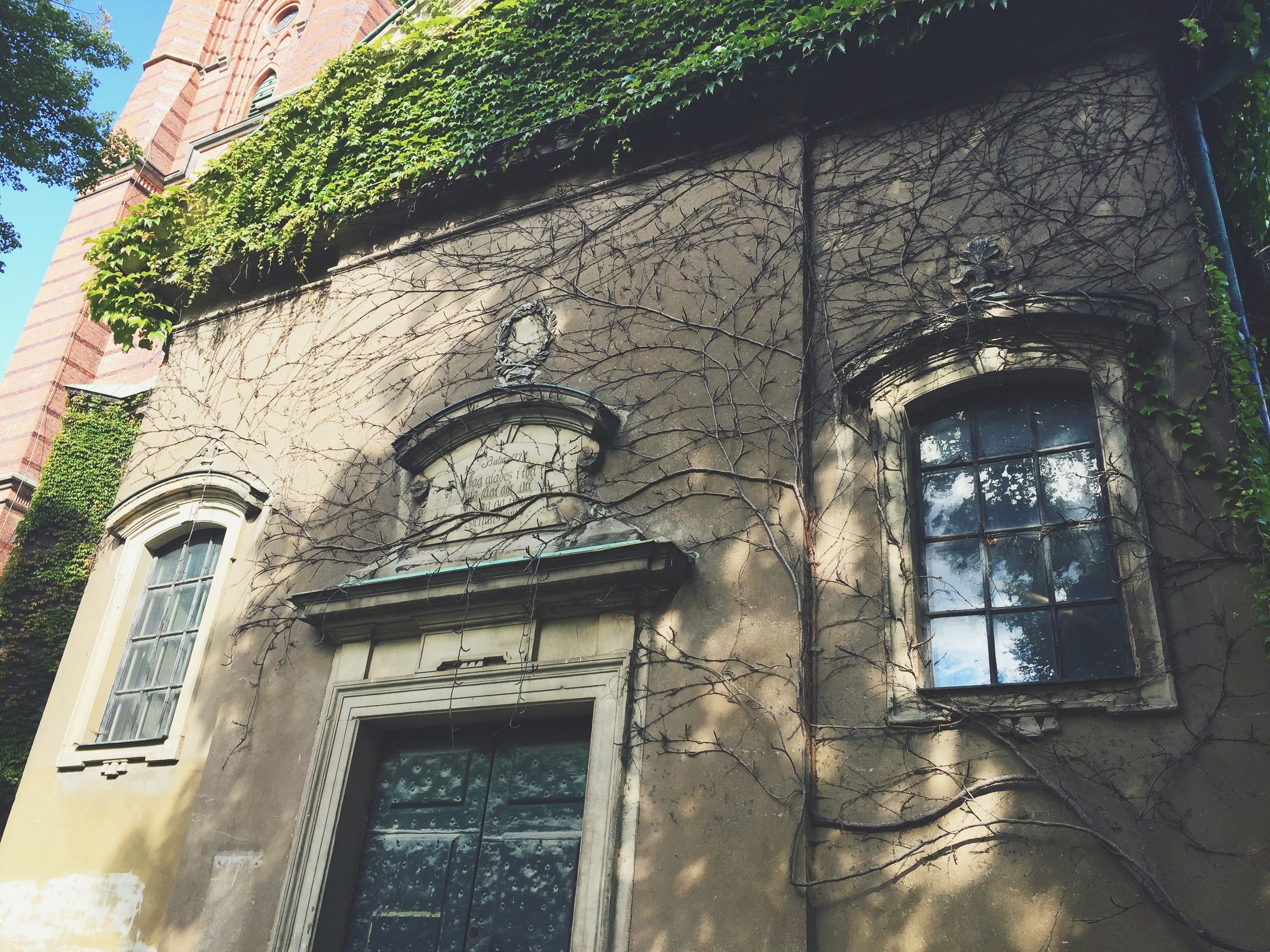 I loved the vines on the wall of this old church in Stockholm.