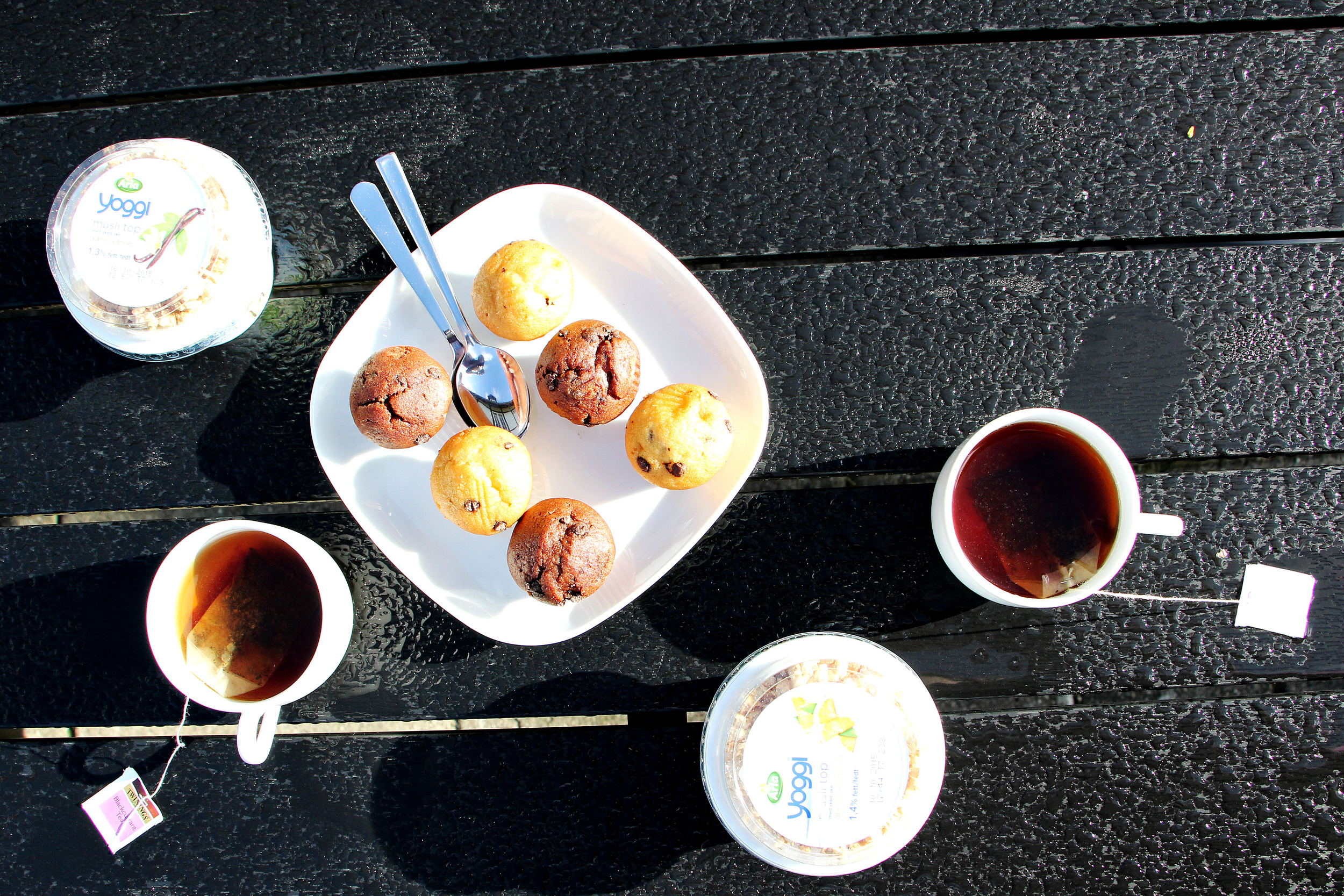 Our little breakfast in the morning– which was eaten out in the garden.