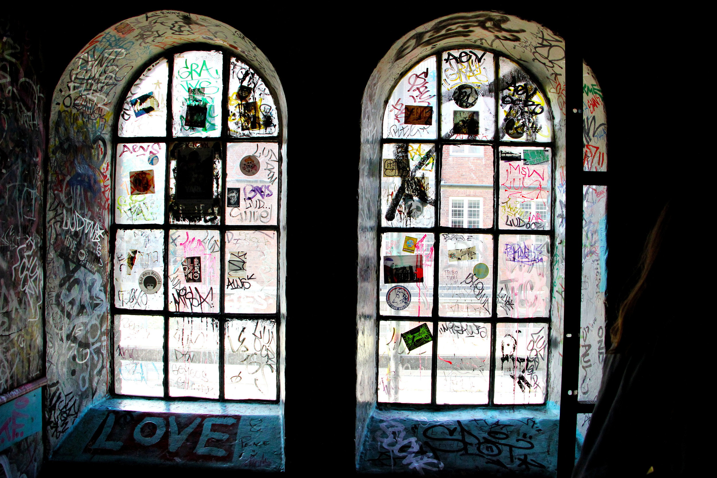 View of a window inside one of the poster galleries.
