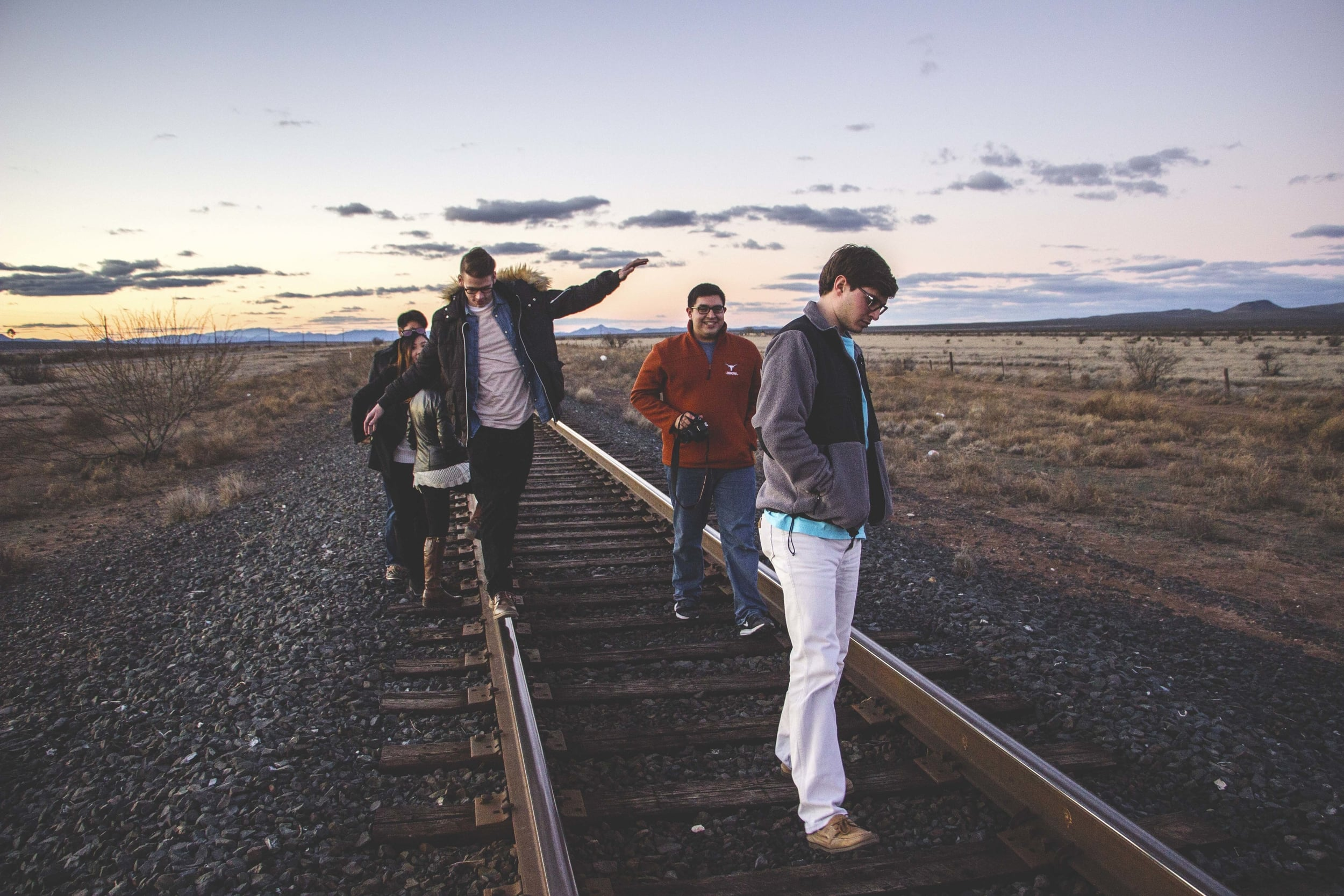 On the train tracks across the road from Prada Marfa.