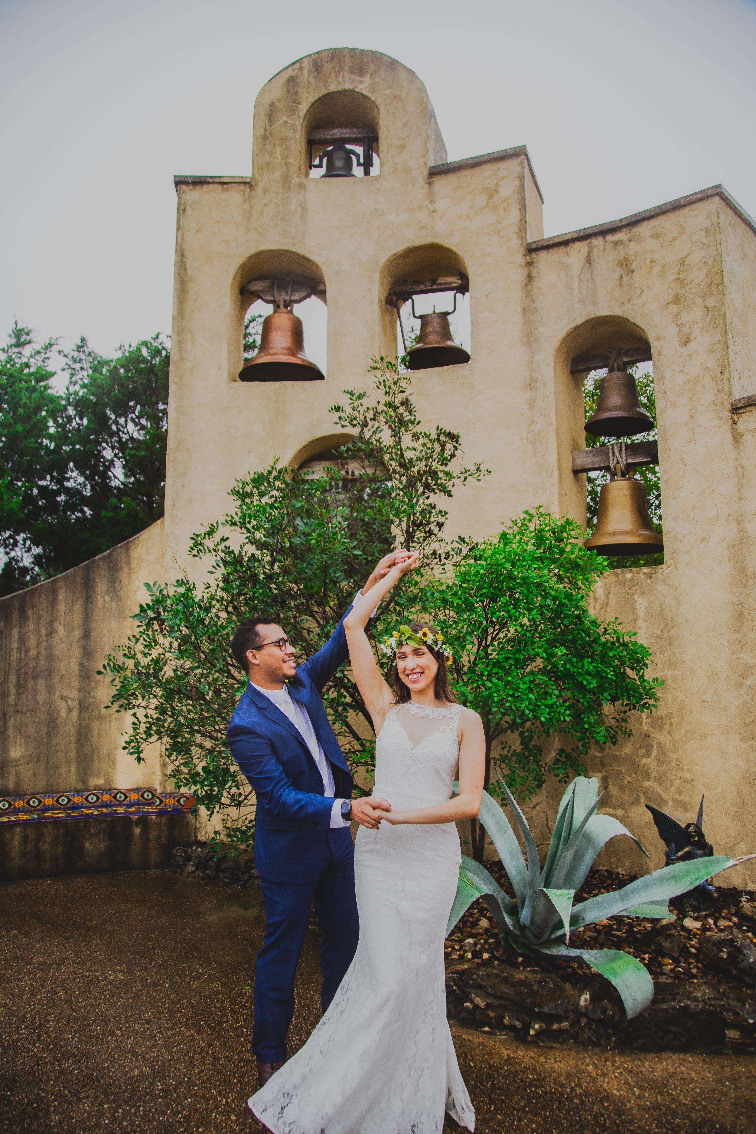 Jackie and Herbert after their wedding at Chapel Dulcinea.
