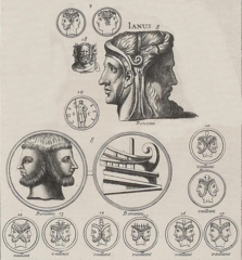 A print from Bernard de Montfaucon's   L'antiquité expliquée et représentée en figures   (Band 1,1) with different images of Janus. (Wikimedia Commons)
