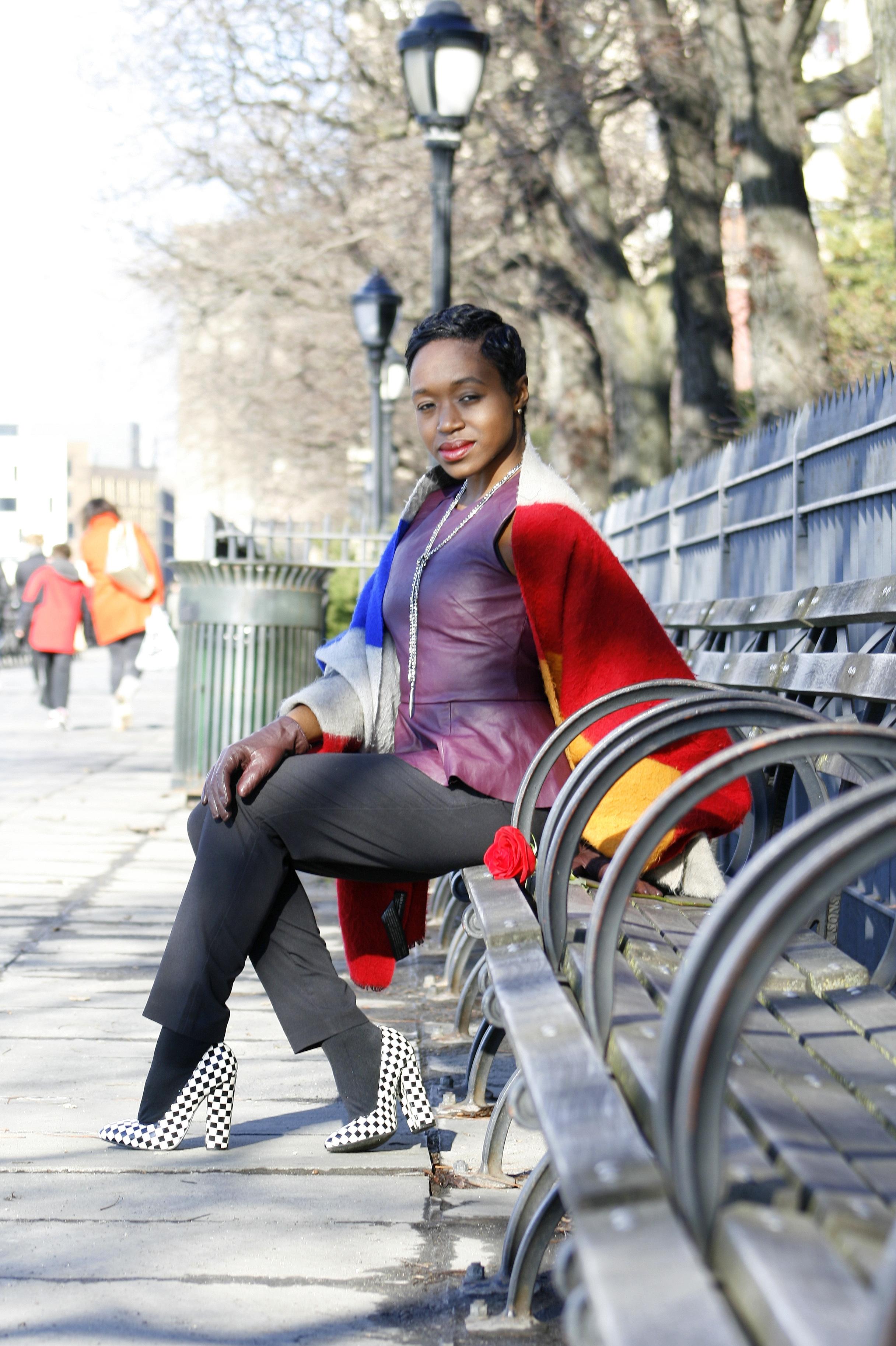 Peplum: H&M// Pants: H&M// Shoes: ModCloth// Blanket scarf: ZARA// Lariat necklace: Stella and Dot