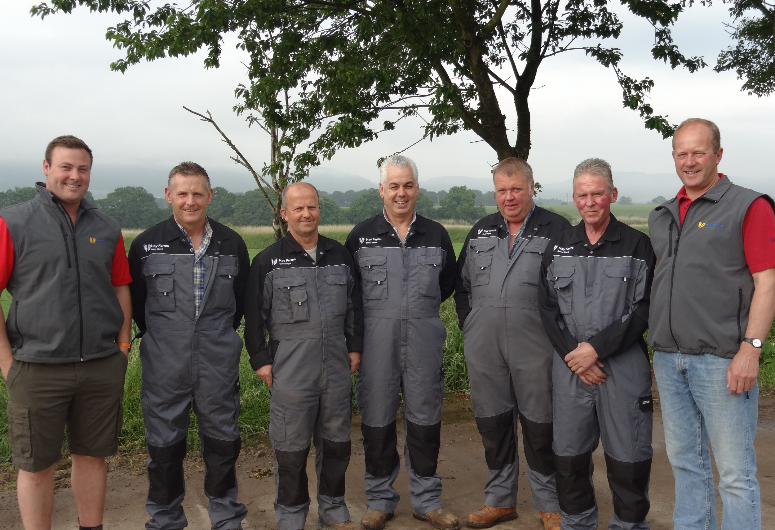 L-R Finlay Hay, Dave McDonald, Alex Morrison, Willie Baillie, Alan Simpson, Graeme Leslie, David Hay