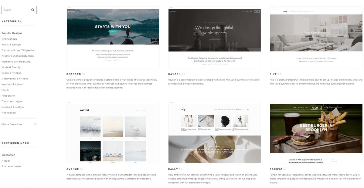 ©Squarespace - Templates filtern in der 'Suche' (oben links) oder nach Kategorien (links)