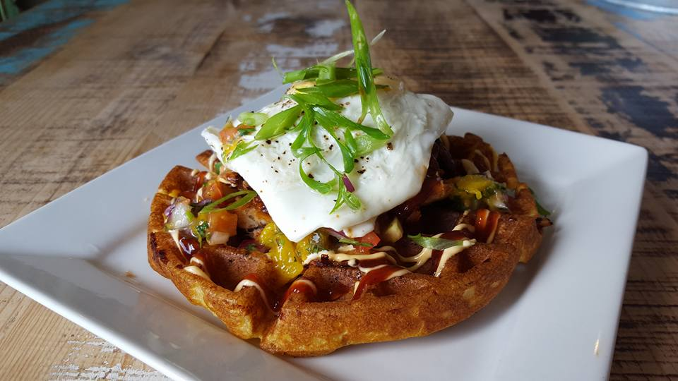 Sweet Potato Bacon Jalapeno Waffle with Pork Bely and Fried Egg Topper