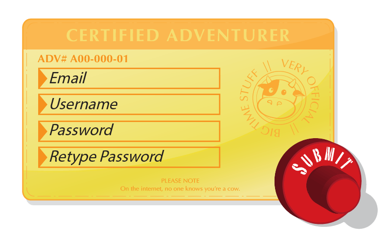 "A mock-up for the sign-up form for the Adventure Cow website. I opted for something fun and memorable in hopes of easing any ill-feelings associated with signing up for ""yet another website."""