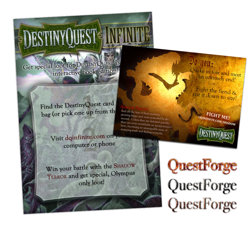 """Flyer and book insert designs for  EasterCon , and a logo for a supplementary product. The elaborate illustrations in the flyer and insert are not by me, but I did extend their logo to include """"INFINITE."""""""