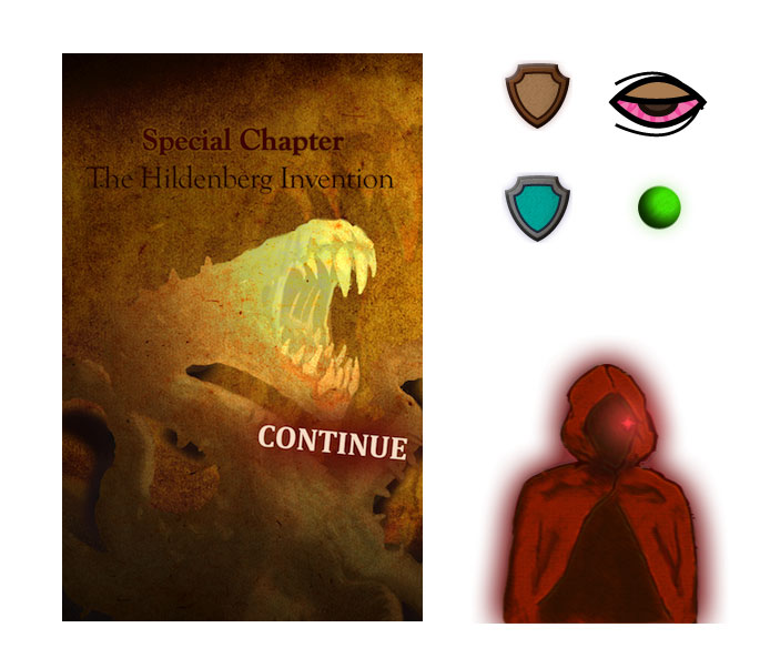 Title screen layout and styling, and original graphic assets for the promotional chapter of DestinyQuest Infinite