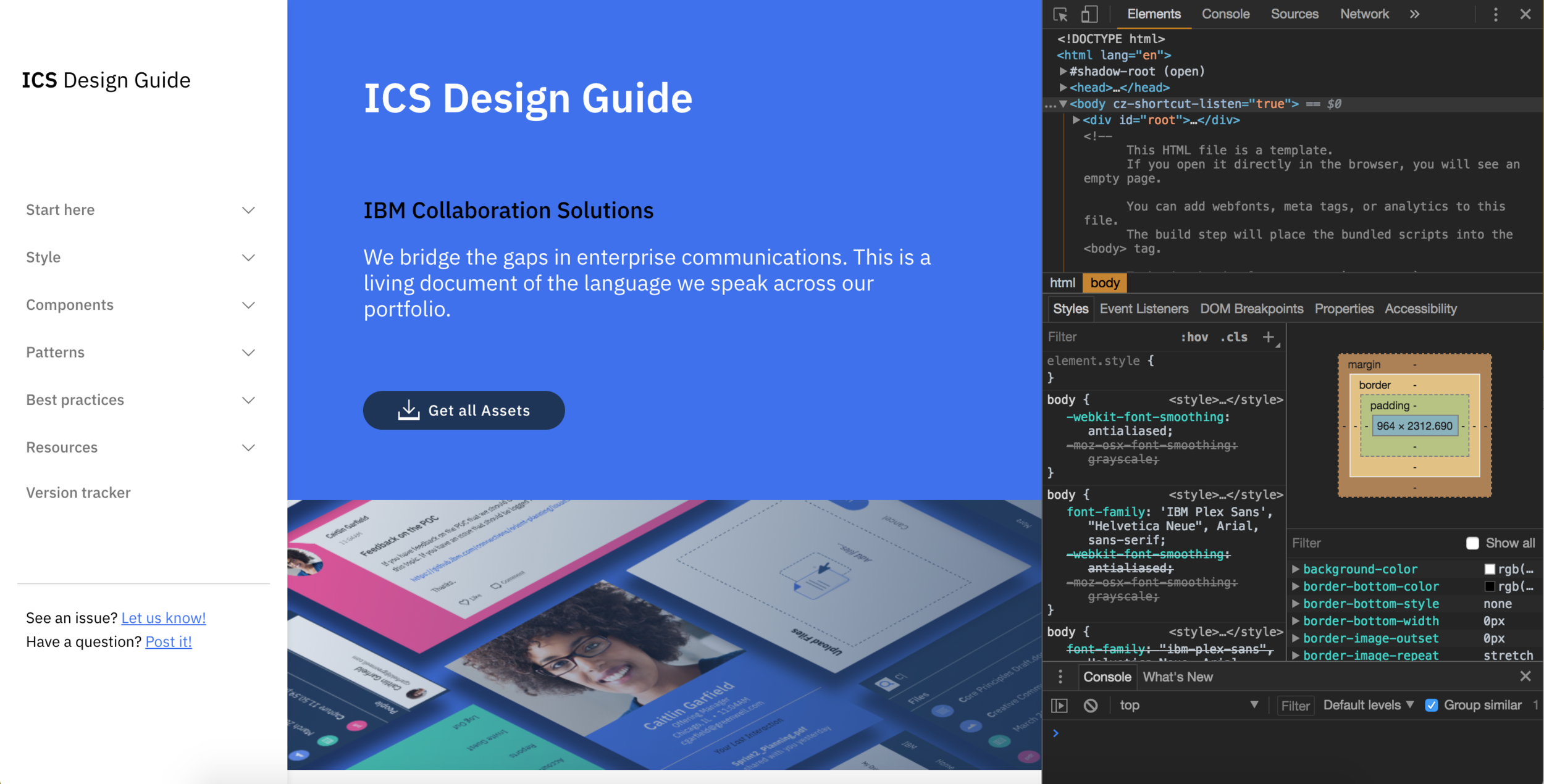 The framework for the current design site with our updated content and navigation.