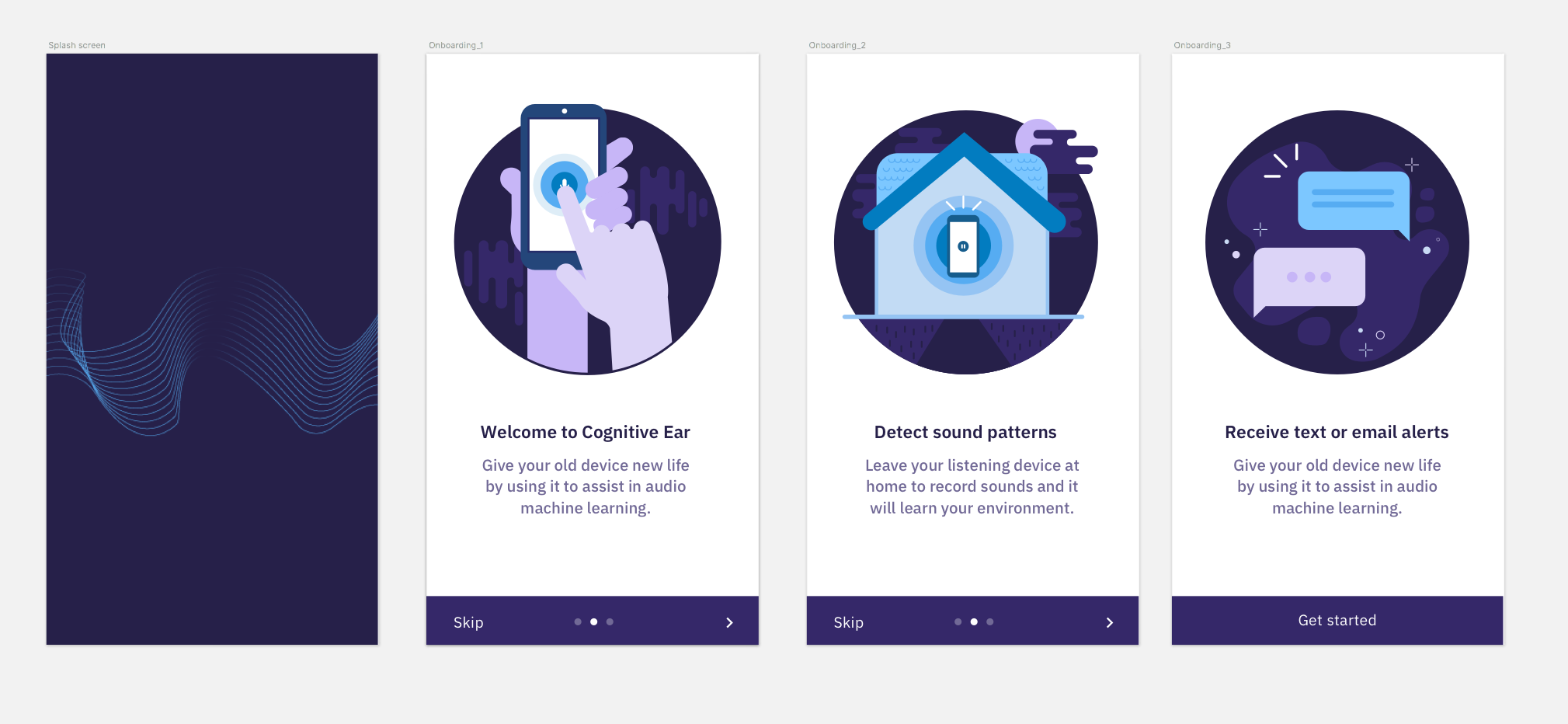 Here are some on boarding screens that I illustrated for the app.