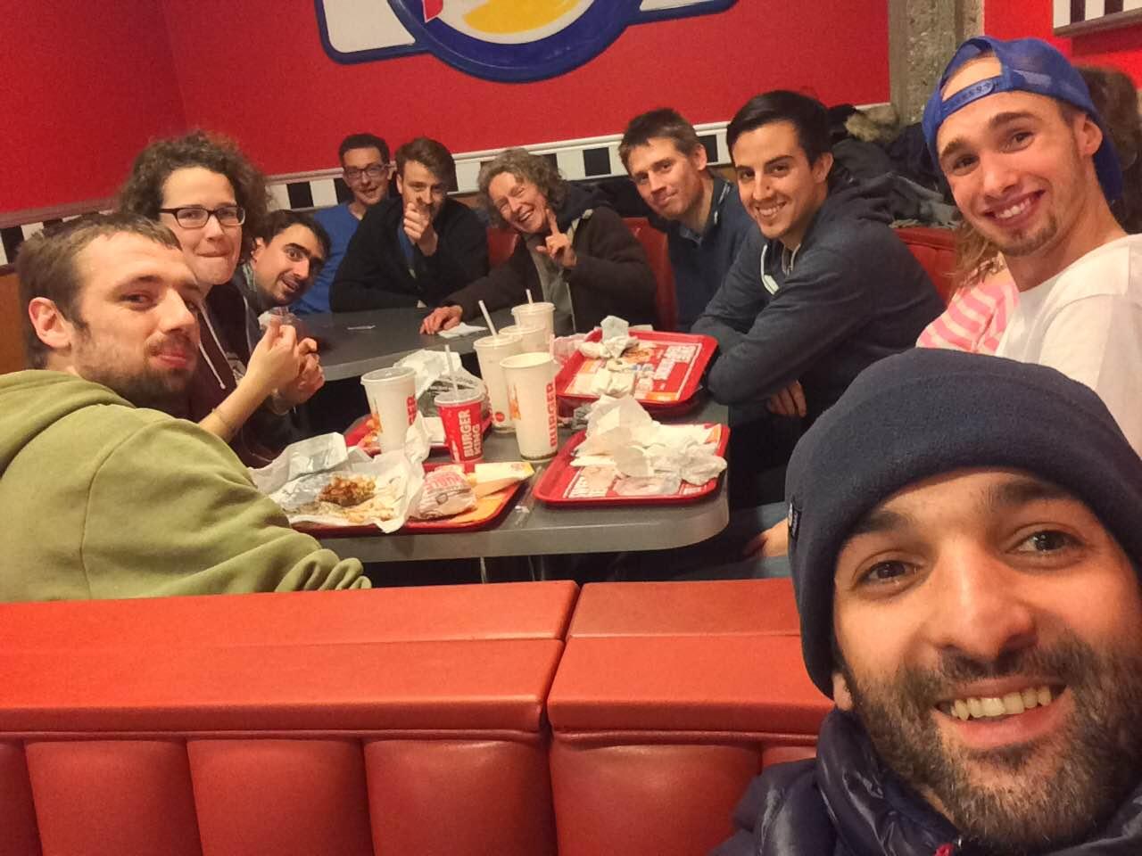 The team enjoying a well-deserved Burger King