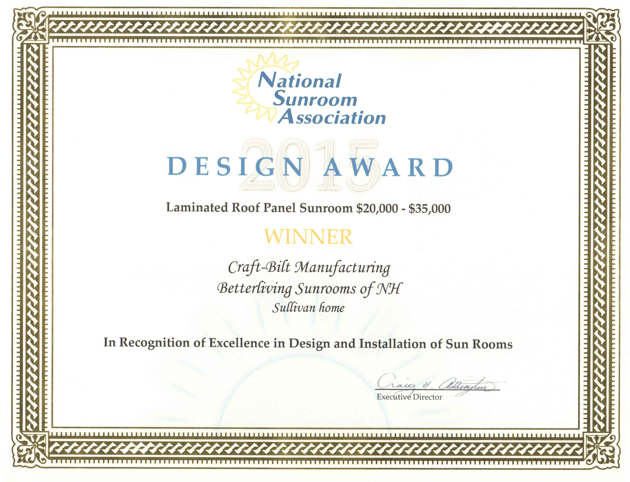 National Sunroom Association Award - Excellence in Design and Installation of Sun Rooms
