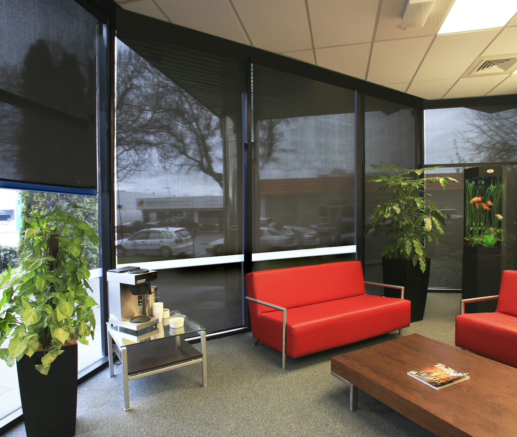 Commercial and business solar shades