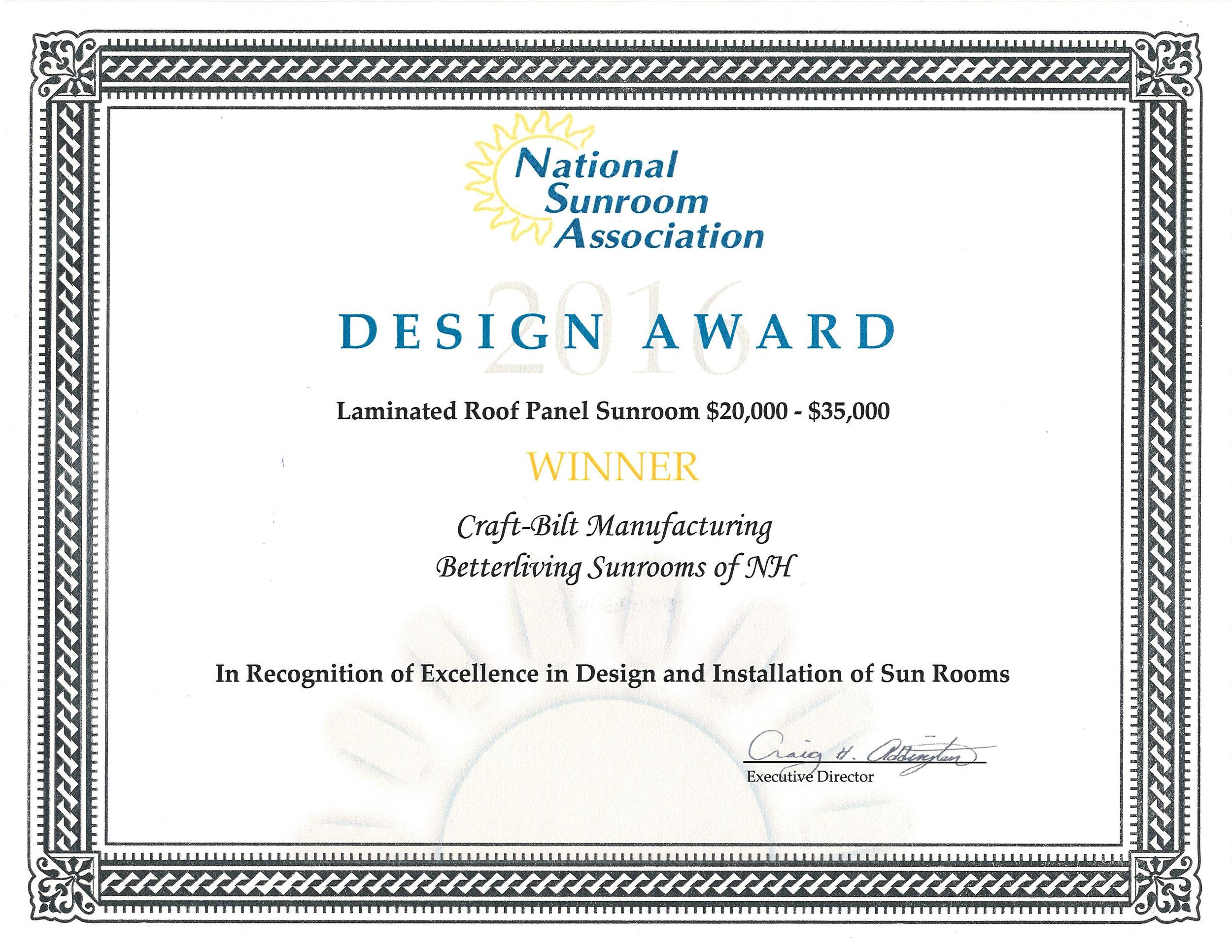 Sunroom Design Award - Betterliving Sunrooms of New Hampshire