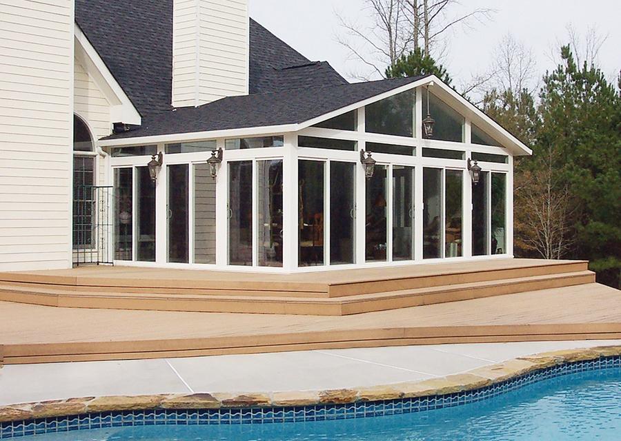 Custom shingle roof for sunroom