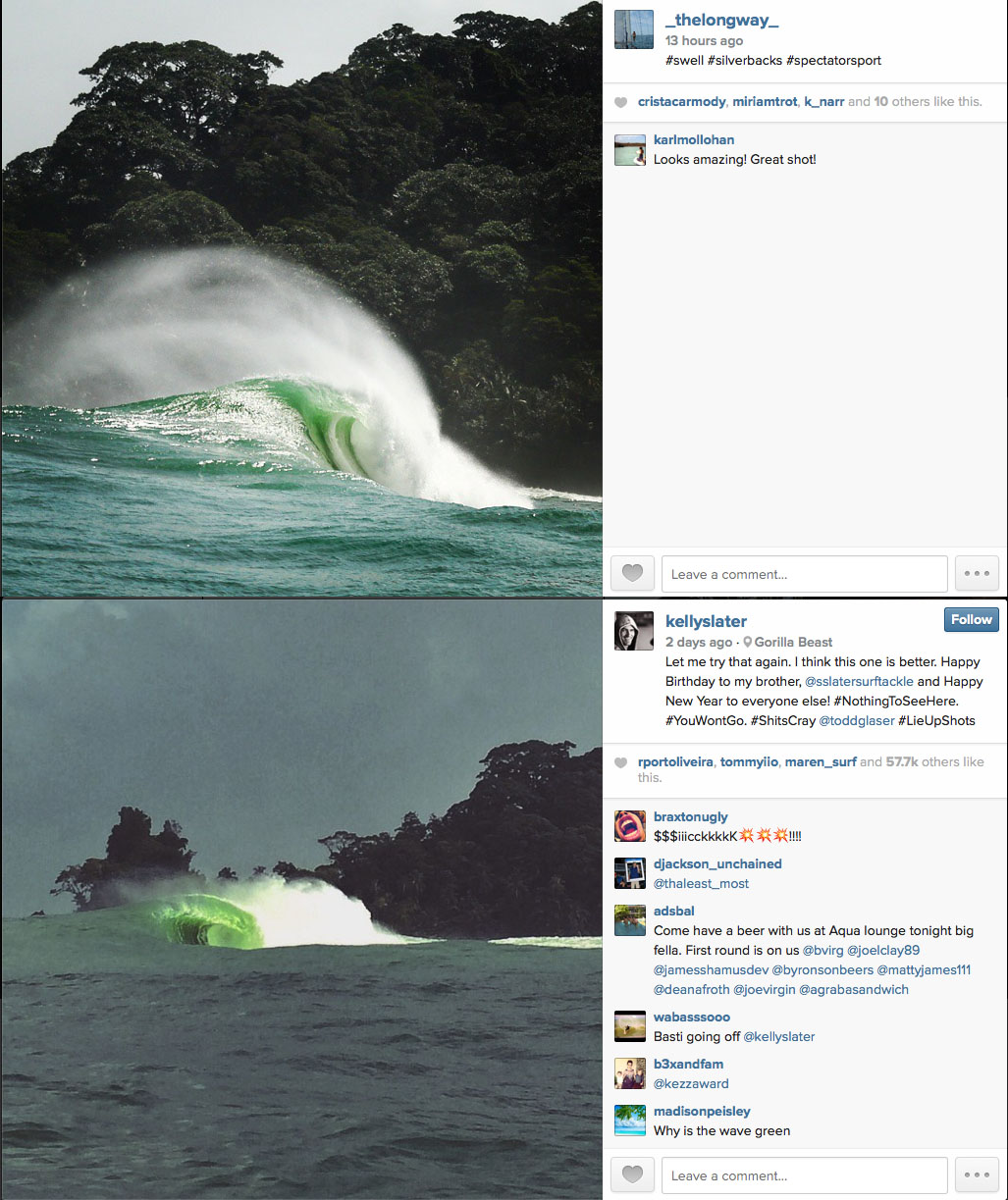 Only difference: Kelly Slater has a few more followers than I do...