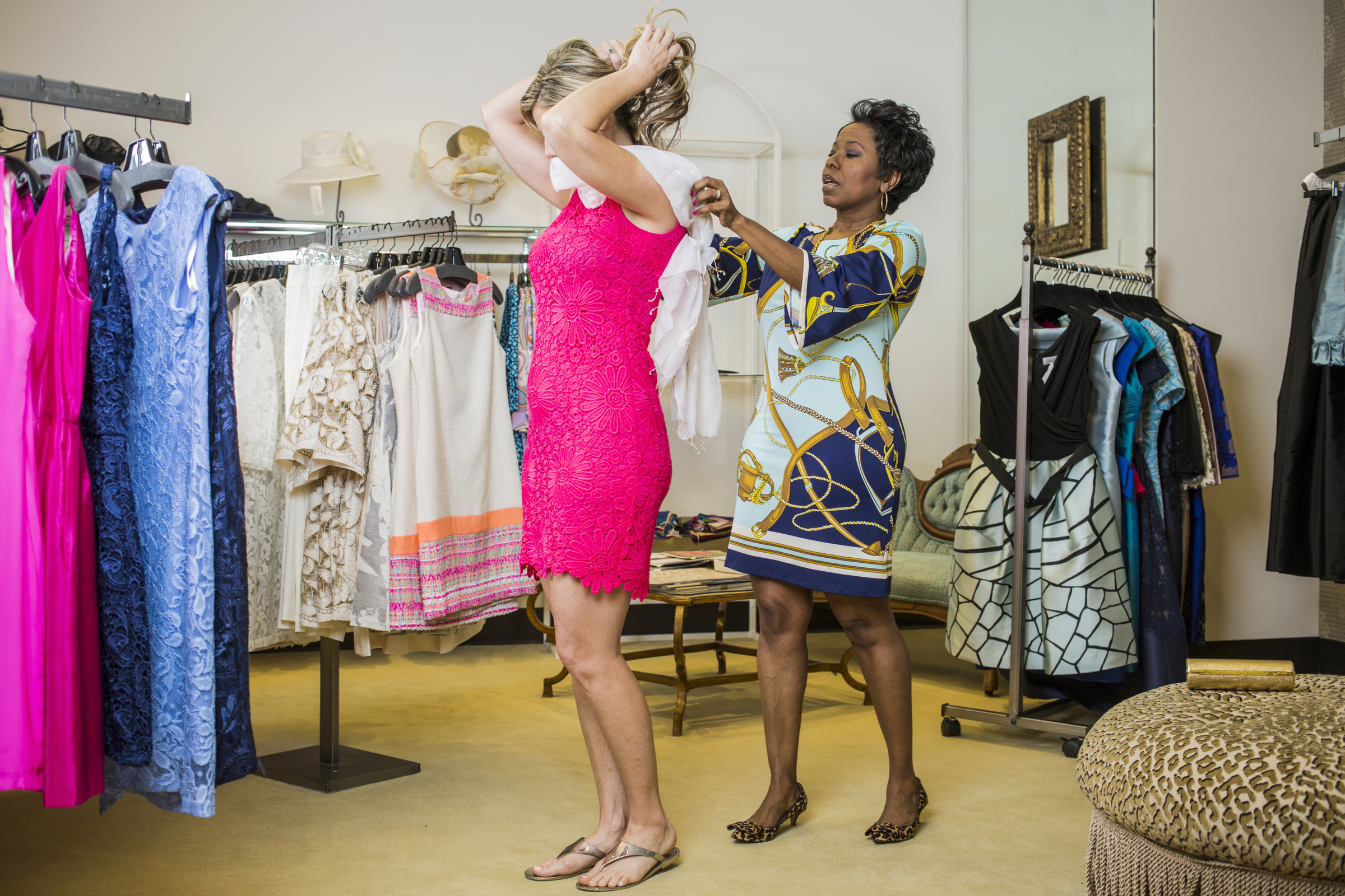 Life+Style Coach Anna Walker helps her client, Shauna Bryan, prepare for an event.