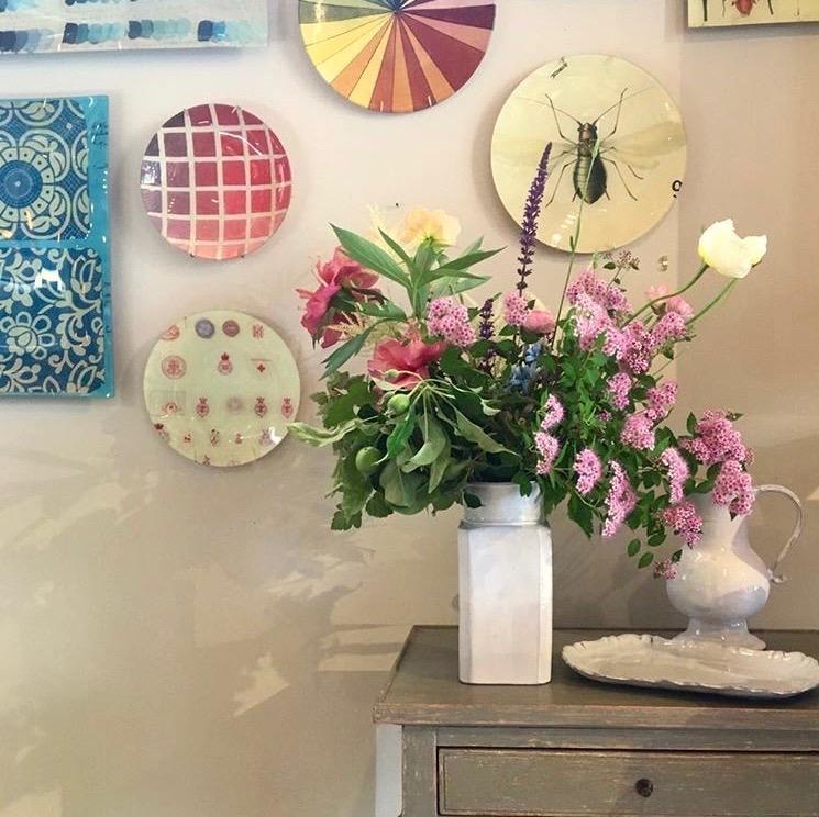 venue and photo credit: k colette  vase:  Astier de Villatte   plates:  John Derian Company