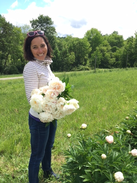 picking peonies at  Arielle's farm in Hillsdale, NY