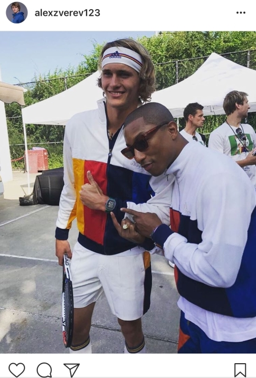 4.) Alex Zverev wears the new adidas tennis collection from Pharell Williams