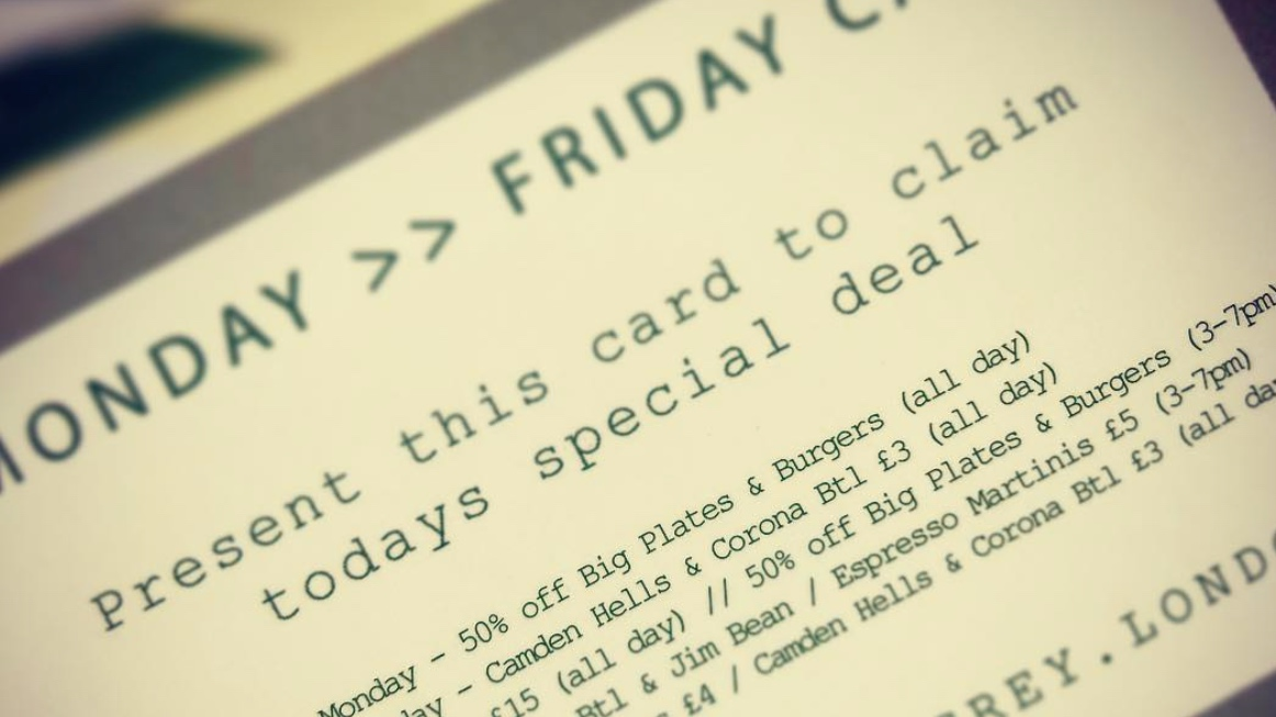 GRAB A MONDAY >> FRIDAY CARD - We are continuing to support local workers within the WC1 & EC1 postcode