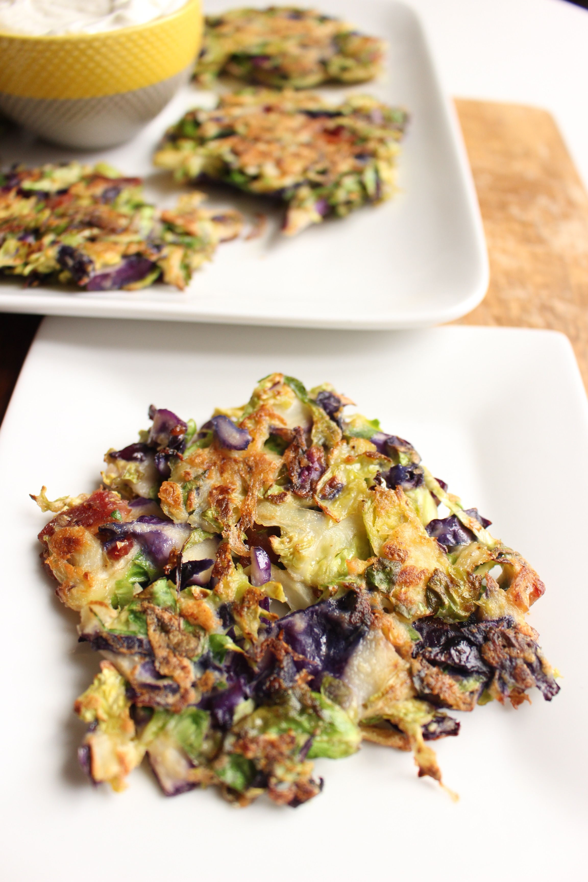Brussels sprouts fritters | Me & The Moose. Get your kids to eat Brussels sprouts by frying them with bacon and cheese in these crispy, crunchy, savory, and gluten-free Brussels spouts fritters. #meandthemoose #dinnerrecipes #sidedishes #glutenfree #glutenfreerecipes #brusselssprouts #brusselssptoutsfritters #fritters #vegetablerecipes