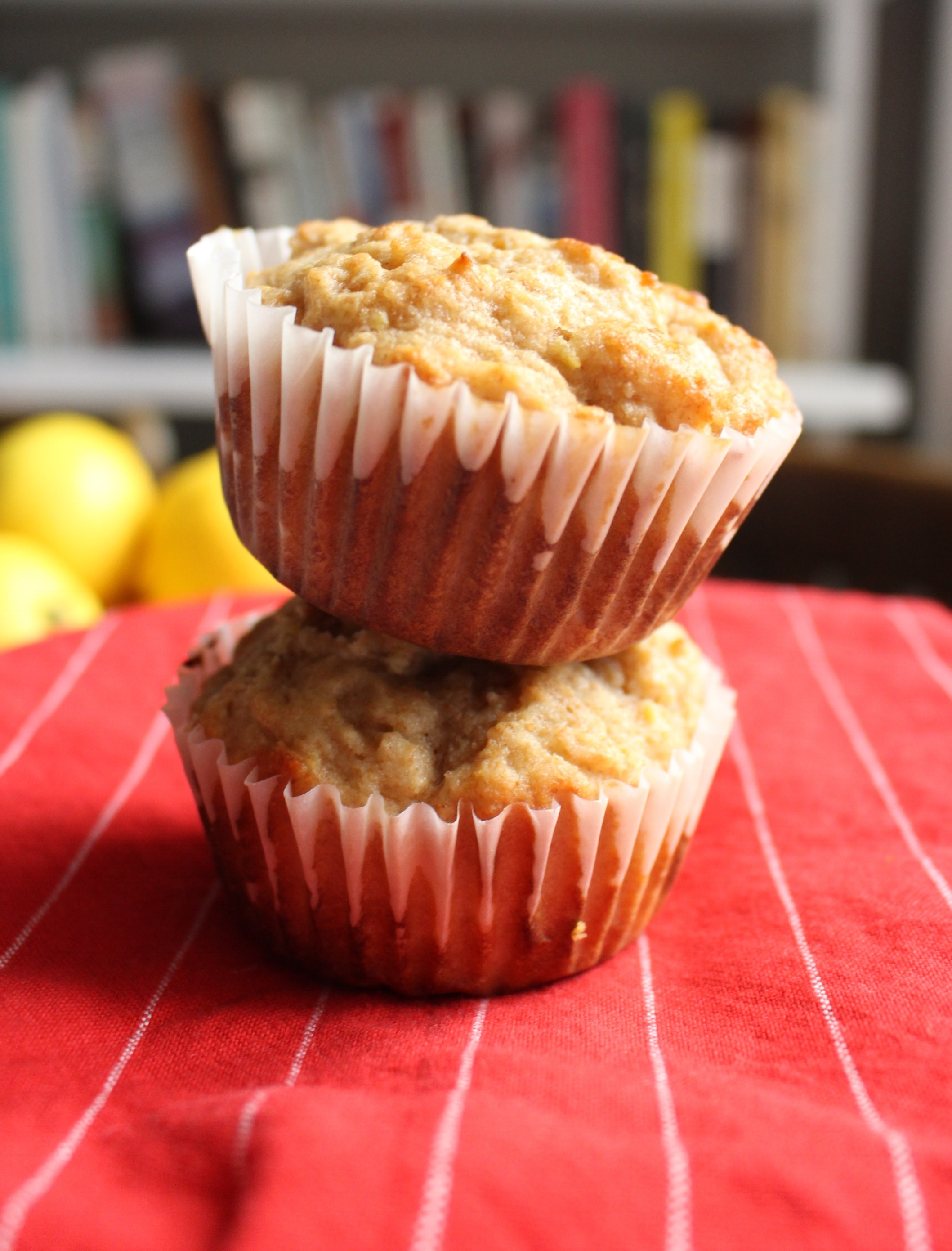 Honey, lemon, and ginger spelt muffins | Me & The Moose. These soothing muffins are healthier than the average morning treat because they contain no white flour and are sweetened with honey. #meandthemoose #muffinrecipes #healthymuffins #speltflourmuffins #lowerglutenrecipes #ancientgrainsrecipes #breakfast #breakfastrecipes #healthybaking #healthybakingrecipes