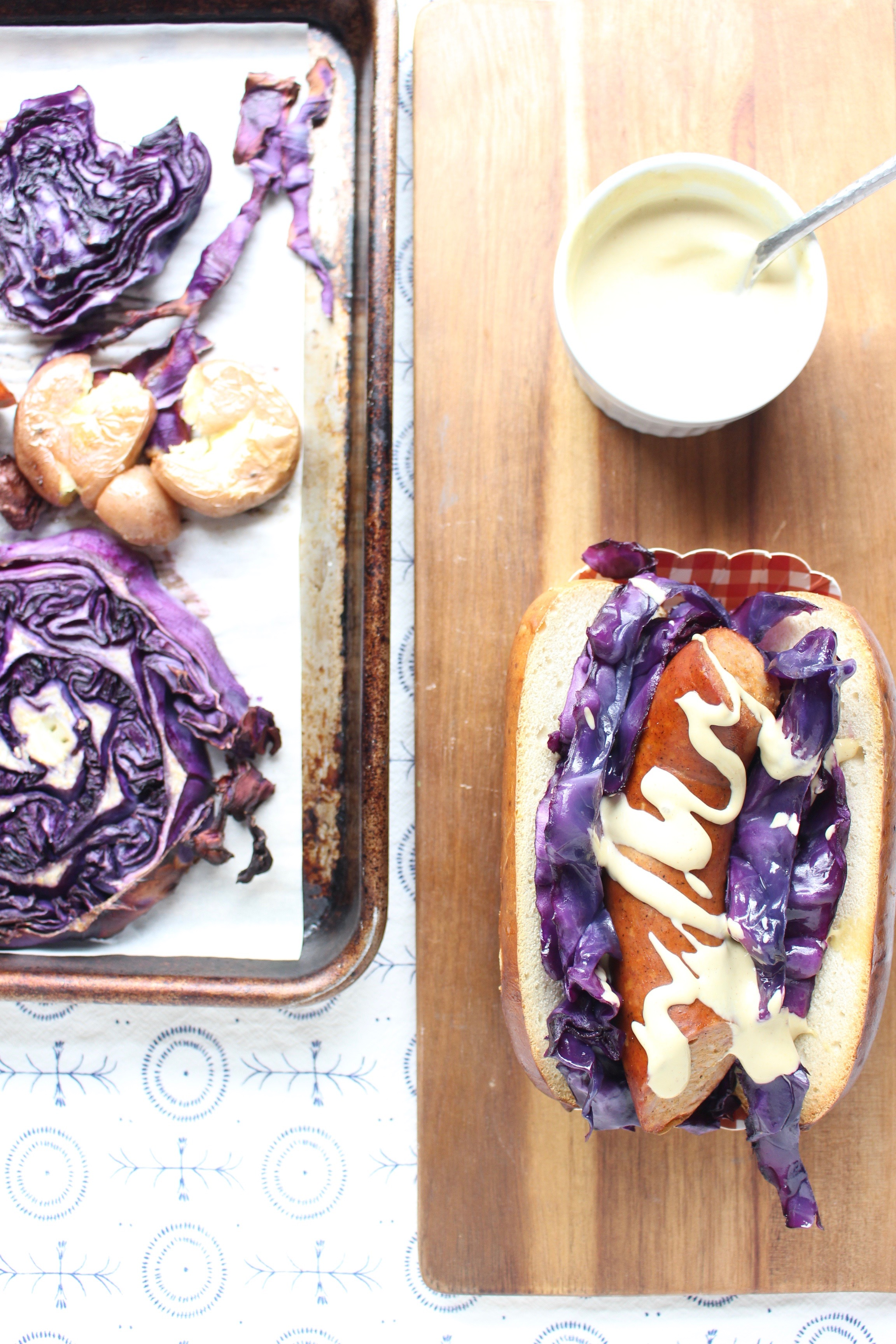 Sheet pan dinners are the fastest, easiest way to get dinner on the table and clean up done quickly. #meandthemoose #sheetpandinner #purplecabbage #sausage #potatoes #Oktoberfest