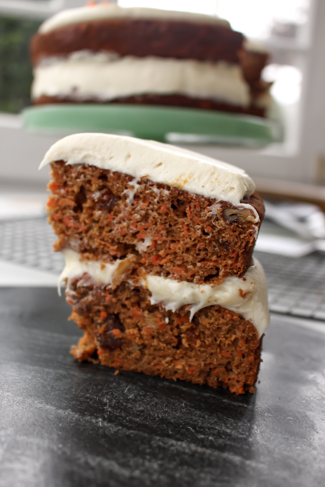 Healthier apricot carrot cake | Me & The Moose. This healthier carrot cake uses no refined sugar, reduces the fat, and increases the veggies to make a cake that is equally light and delicious. #meandthemoose #carrotcakerecipes #carrotcake #healthybaking #healthybakingrecipes #healthyrecipes #healthycake #cake #cakerecipes